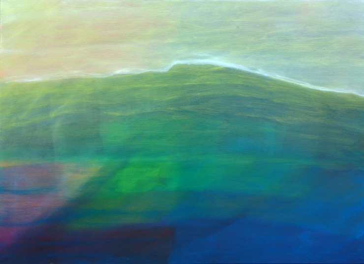 """Open 6 - In Land"" 2016-2017 Oil on canvas 75x100 cm by Manfred Krautschneider"
